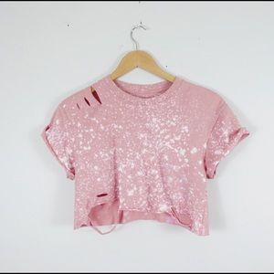 🌸NEW🌸 Pink Bleached Distressed Tee S-3X